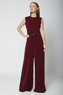 Maroon Hand Embroidered Jumpsuit by Swatee Singh