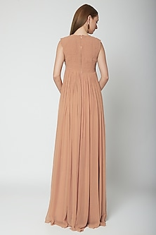 Nude Round Neck Gown by Swatee Singh