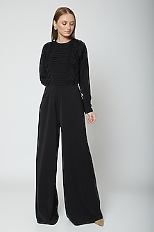 Black Round Neck Origami Jumpsuit by Swatee Singh