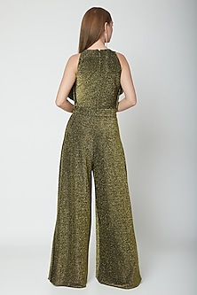 Olive Green & Gold Round Neck Draped Jumpsuit by Swatee Singh