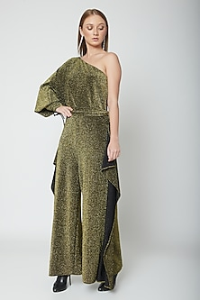 Olive Green & Gold One Shoulder Jumpsuit by Swatee Singh