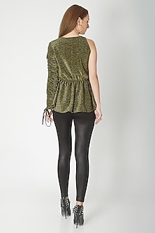Olive Green & Gold Peplum Top With Puffy Sleeve by Swatee Singh