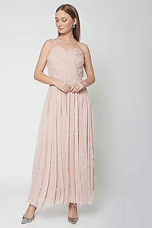 Blush Pink Pleated Dress by Swatee Singh