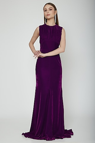 Purple Pleated Fit & Flare Gown by Swatee Singh