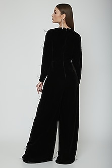 Black Feather Embellished Jumpsuit by Swatee Singh