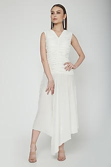 White Asymmetric Textured Dress by Swatee Singh