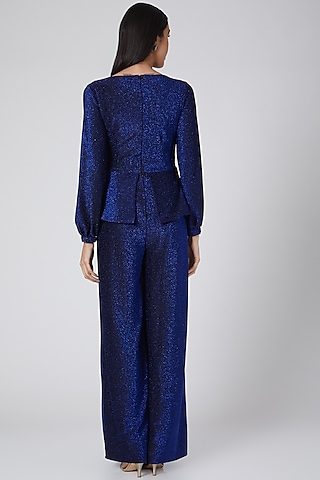 Midnight Blue Shimmer Jumpsuit by Swatee Singh