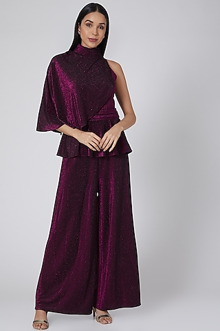 Wine Shimmer Jumpsuit With Cape by Swatee Singh