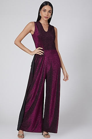 Wine Shimmer Draped Jumpsuit by Swatee Singh