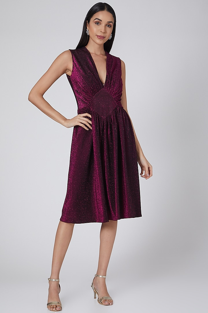 Wine V-Neck Shimmer Dress by Swatee Singh