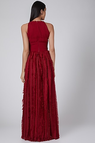 Red Pleated Fur Gown by Swatee Singh