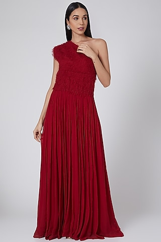 Red One Shoulder Gown by Swatee Singh