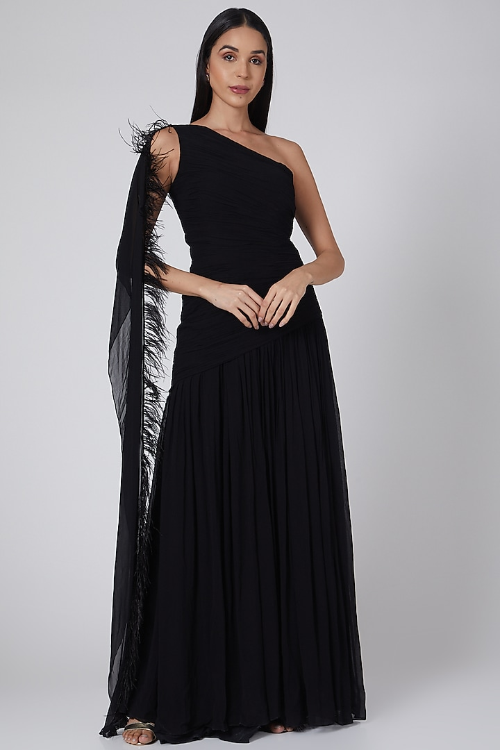 Black Ruched Gown by Swatee Singh