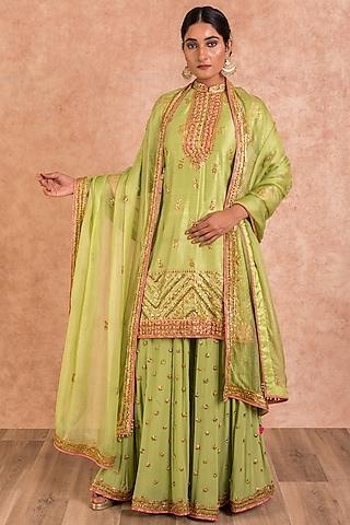 Green Embroidered Sharara Set by SWATI UBROI