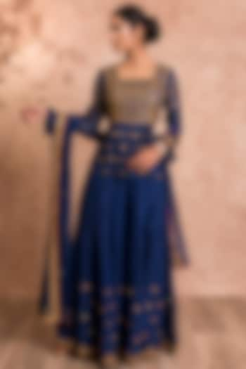 Dark Blue Embroidered Gharara Set by SWATI UBROI