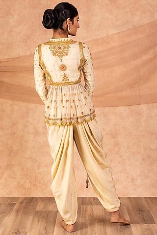 Ivory Embroidered Dhoti Set by SWATI UBROI