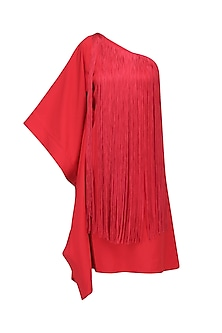 Crimson One Shoulder Dress by Swatee Singh
