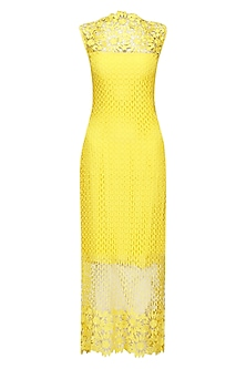 Yellow Guipure Ankle Length Dress by Swatee Singh