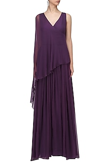 Purple Overlay Gown by Swatee Singh