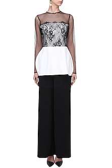 Ivory and Black Peplum Top by Swatee Singh