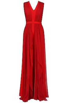 Crimson Jumpsuit with Cape Sleeves by Swatee Singh