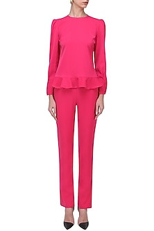 Fuchsia Ruffled Hem Top by Swatee Singh
