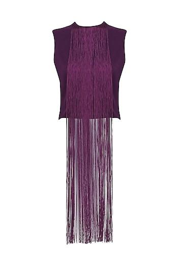 Purple Fringe Crop Top by Swatee Singh