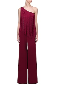 Maroon One Shoulder Jumpsuit by Swatee Singh