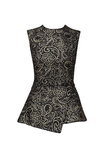 Black and Gold Peplum Top by Swatee Singh
