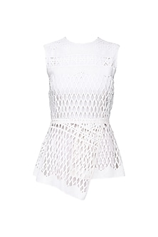 Ivory Geometric Lace Peplum Top by Swatee Singh