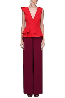 Crimson and Maroon Peplum Jumpsuit by Swatee Singh