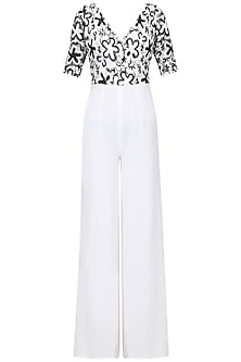 Black and White Floral Jumpsuit by Swatee Singh