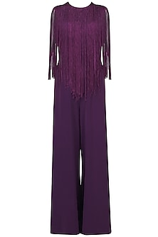 Purple Fringe Jumpsuit by Swatee Singh