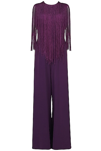 Purple Fringe Jumpsuit by Swatee Singh