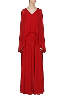 Crimson Gown with Attached Cape by Swatee Singh