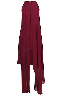 Maroon Fringe Halter Neck Dress by Swatee Singh