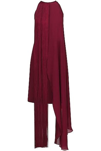 Maroon Fringe Halter Neck Dress by Swatee Singh