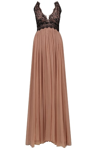 Sand Color and Black Lace Gown by Swatee Singh