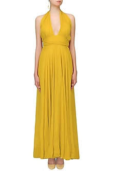 Mustard Yellow Criss Cross Neck Retro Gown by Swatee Singh