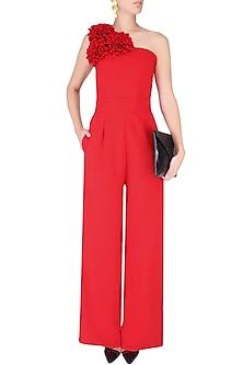 Crimson Red One Shoulder Flower Jumpsuit by Swatee Singh