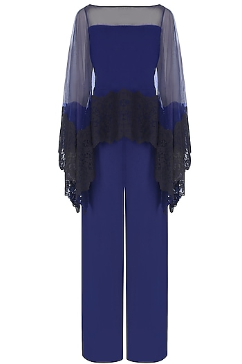 Navy Blue Jumpsuit With Lace Applique Sheer Cape Overlay by Swatee Singh