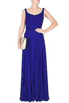 Royal Blue Diamante Neck Ruffle Gown by Swatee Singh