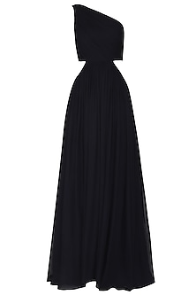 Navy Blue Gathered One Shoulder Gown by Swatee Singh