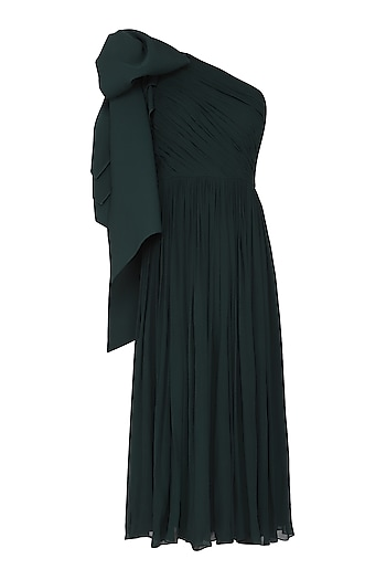 Green One Shoulder Pleated Dress by Swatee Singh