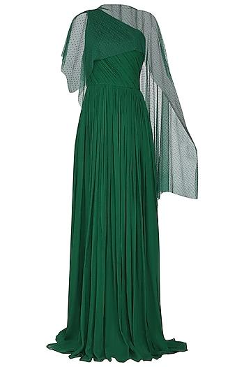 Dark Green One Shoulder Pleated Gown by Swatee Singh