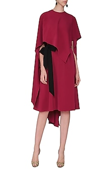 Red Flare Dress with Flag Cape by Swatee Singh