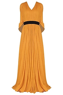 Mustard Gown with Kaftan Drape by Swatee Singh