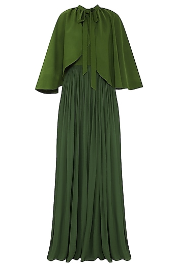 Green Scarf Collar Gown by Swatee Singh