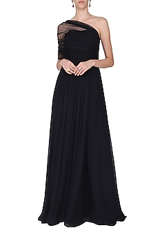 BLACK CORSET DRAPE GOWN by Swatee Singh
