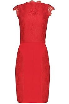 Crimson red lace curva wiggle dress by Swatee Singh